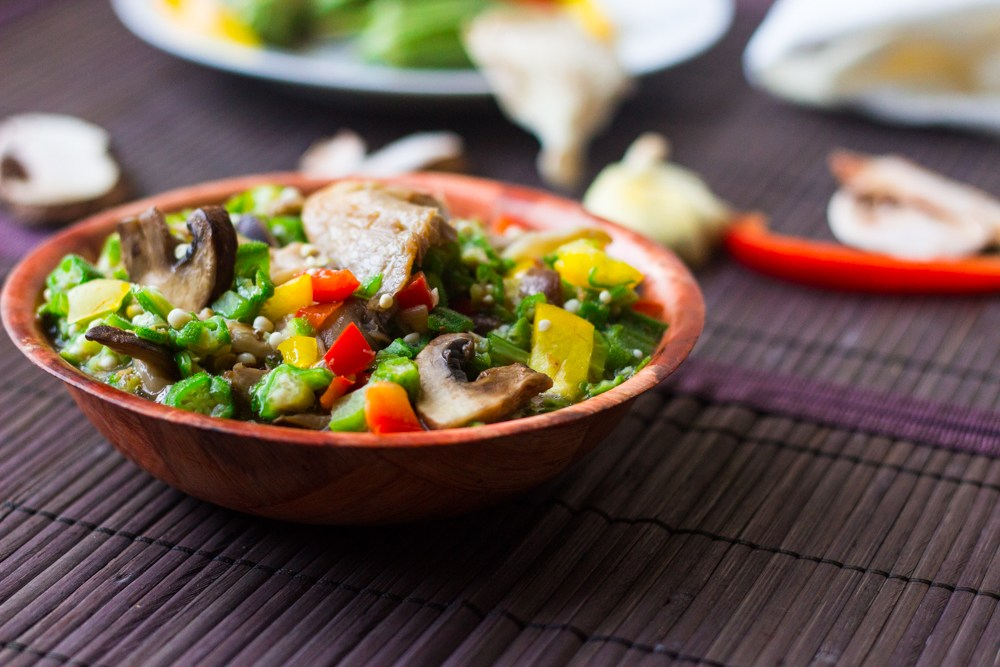 Steamed Okro with Mushrooms and Mixed Peppers