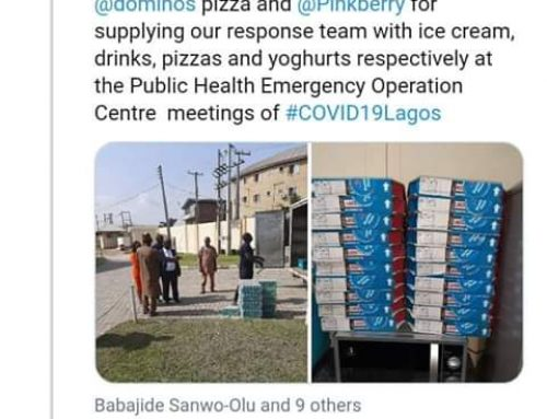Lagos State Medical Response Team Gets Free Ice Cream, Pizzas, Yoghurt From Cold Stone, Dominos Pizza, Pinkberry, Others